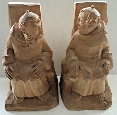 Pair of Vintage Hand Carved Wooden 7 inch Monk Book Ends