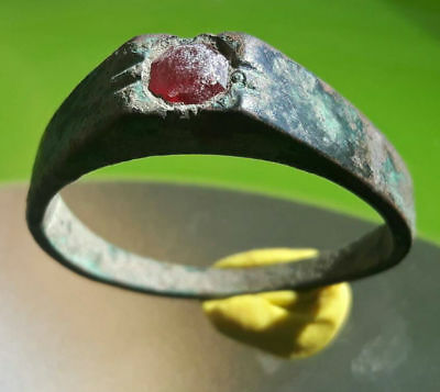 Medieval Bronze Ring With Red Stone !!
