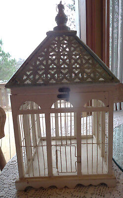 "Wood & Metal  Bird Cage White Green Painted Shabby Chippy Chic Wedding 21"" Tall"