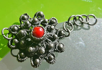 Medieval Silver  Bracelet Part With Red Stone !! Filigree Work !!