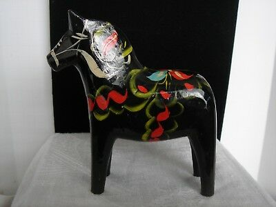 Dala Horse Nils Olsson Sweden Fork Art Hand Painted Hand Made Good Luck Symbol