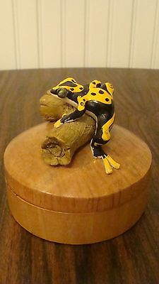 Unique Vintage Wood Hand Carved Box With Frog on Top By Ye Olde Curiosity Shop