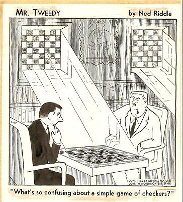 Original Panel Comic Strip Art Cartoon: Mr Tweedy by Ned Riddle & letter