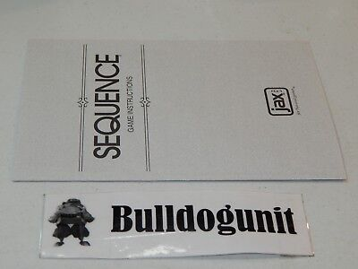 1999 Sequence Board Game Replacement Instruction Manual Only 487