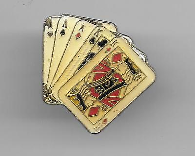 Vintage Aces over Kings Full Boat Poker Hand old enamel pin