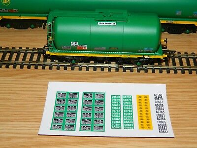 Alternative running numbers Decals for Bachmann BP 4W tank TTA wagon OO Gauge