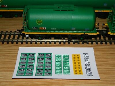 Alternative running numbers Decals for Bachmann BP oil tank TTA wagon OO Gauge
