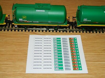 Aviation Fuel decals for Bachmann Hornby green tank TEA & TTA wagons OO Gauge