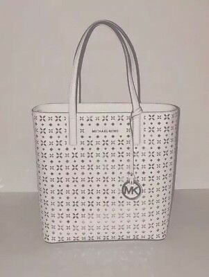 c3f34594a97f8d Michael Kors Hayley Tote Bag Md N/S Top Zip Perforated Leather Optic White  Nwt