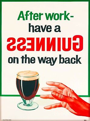After Work Guinness Beer  Ireland Great Britain Vintage Travel Art Poster Print