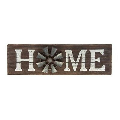 Home Windmill Sign Rustic Distressed Slatted wood Galvanized Windmill
