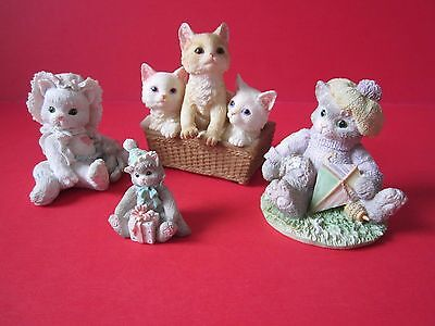 Cat/Kitten Figurines, Lot Of 4, Stone Critters, Calico Cats, Priscilla Hillman,