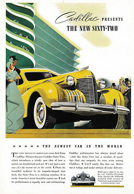 1939 Cadillac: The New Sixty Two Vintage Print Ad