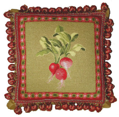 "12/"" x 12/"" Handmade Wool Needlepoint Petit Point Stink Bug Pillow with Tassels"