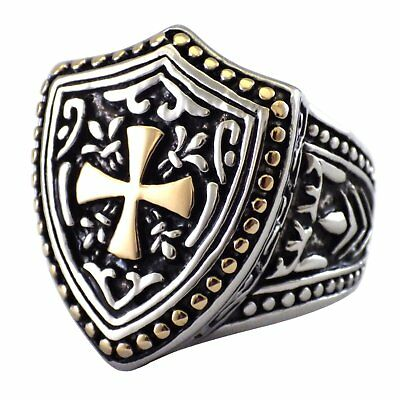 Knights Templar Cross Shield Ring Mens Stainless Steel Band Size 8-15 30x8.6mm