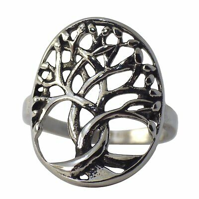 Yggdrasil Celtic Tree of Life Ring Womens Viking Jewelry Sz 6-10 Stainless Steel