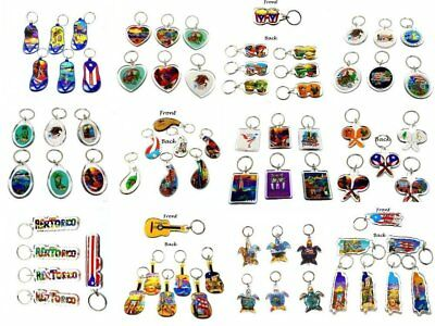 Lot of 12 Puerto Rico Key Chain Holder Ring Souvenir Rican - YOU PICK DESIGN -
