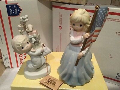 Precious Moments Figurines  - Collection of 3 (Xmas, Girl with Flag)