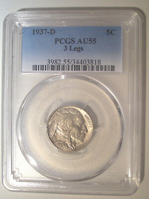 1937-D * 3 LEGS Legged * PCGS AU55 * BUFFALO Indian Head Nickel 5c $1,050+ ERROR