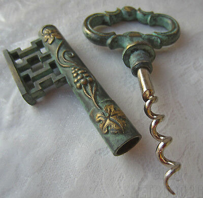 "beautiful ANTIQUE VINTAGE Key Corkscrew wine bottle opener 5.5""  bronze  ... /7/"