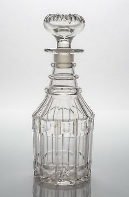 Antique 19th Century William IV/Victorian Cut Glass Decanter with Panel Cuts