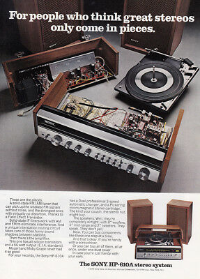 1973 Sony HP610A Stereo: Great Stereos Only Come In Pieces Vintage Print Ad