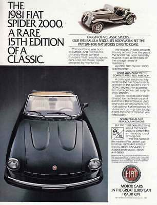 1981 Fiat Spider: Rare 15th Edition Vintage Print Ad