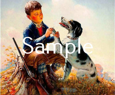 Antique Repro 8X10 Photo Print Boy Bird Hunter Removing Thorn From Setters Paw