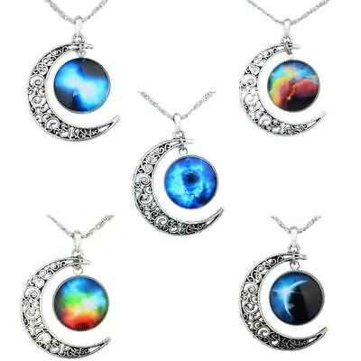 Women Glass Cabochon Crescent Moon Statement Jewelry Necklace Chain Pendant