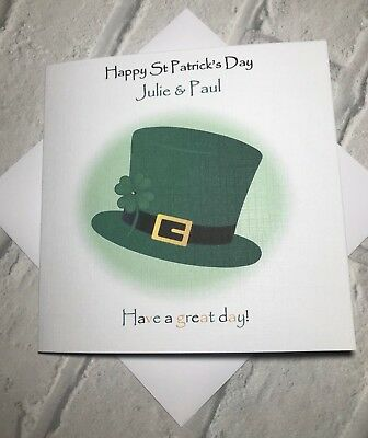 St.Patricks Day Leprechaun Hat Personalised card for Men & Women