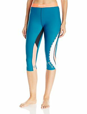SKINS Women's DNAmic Compression 3/4 Capri Tights, Cerulean, X-Large