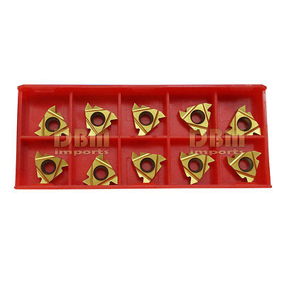 "10 PC 3/8"" Tin Coated 16ER AG60 Threading Carbide Inserts CNC Turning Tool"