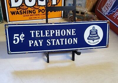 "PUBLIC TELEPHONE 9""porcelain sign vintage phone booth bell system"