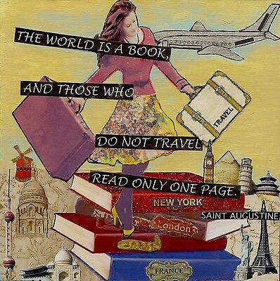 Travel Theme Quote Art Collage Woman Traveller & Books Mixed Media