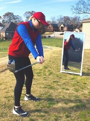 Golf Aid 2'x4' Mirror Folds to 2'x2' for Easy Transport--Writeable surface