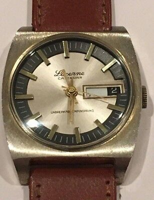 Vintage 1960's Lucerne Calendar Men's Wrist Watch Day/Date