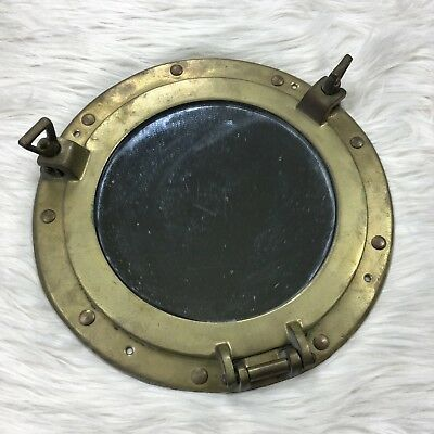 Vintage Patina Brass Porthole Nautical Art Deco Wall Hanging Hatch Mirror