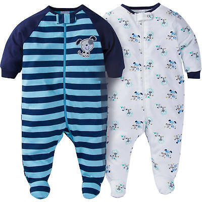 Gerber Baby Boys 2 Pack Sleep N Play NEW Puppies Design Various Sizes ADORABLE