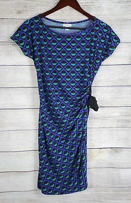 A PEA IN THE POD Womens Blue Black Geometric Maternity Dress MEDIUM