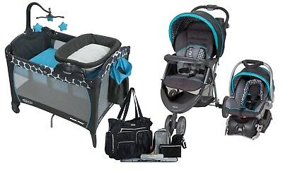 Baby Trend Stroller with Car Seat, Graco Playard,Diaper Bag Travel System Set