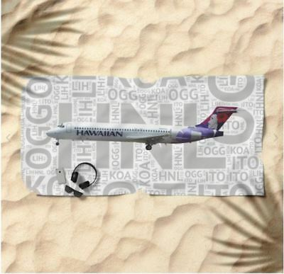Hawaiian Airlines Boeing 717with Airport Codes - Beach Towel