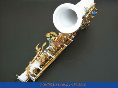 Eb Alto Saxophone Porcelain White Paint Body with Gold Plated Keys