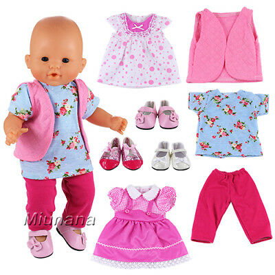 Miunana 6 Items = 3 PCS Clothes Dresses + 3 PCS Shoes For 14 -16 Inch Baby Dolls