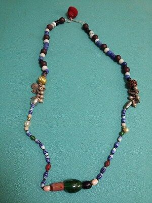 Old Antique Collectible holy beads Ethnic Jewellery Tribal Indian Necklace #85