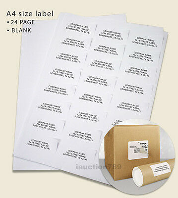 100 Sheets 24 up 64 x 33.8mm Peel & Paste Label A4 Office Mailing Address label