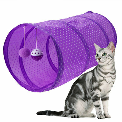 Pet Cat Tunnel Toys Outdoor Game Play Foldable Kitten Rabbit With Bell Ball KU