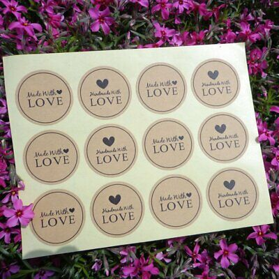 12/60/120PCS Hand Made With Love Heart Sticker Paper Biscuit Bag Labels KU