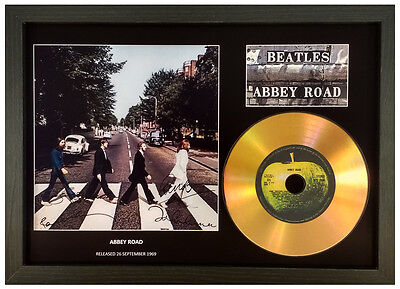 The Beatles 'abbey Road' Signed Gold Disc Display Collectable Memorabilia Gift