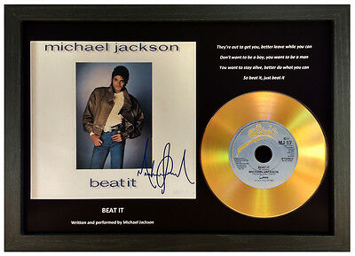 Michael Jackson 'beat It' Signed Gold Cd Display Collectable Memorabilia Gift