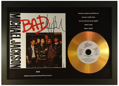 Michael Jackson 'bad' Signed Gold Cd Disc Display Collectable Memorabilia Gift
